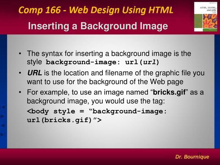 Inserting a Background Image