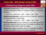 positioning objects with css1