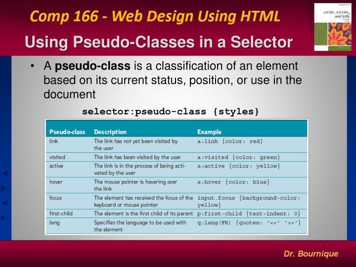 Using Pseudo-Classes