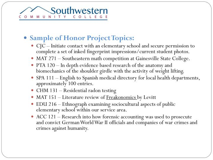 Sample of Honor Project Topics:
