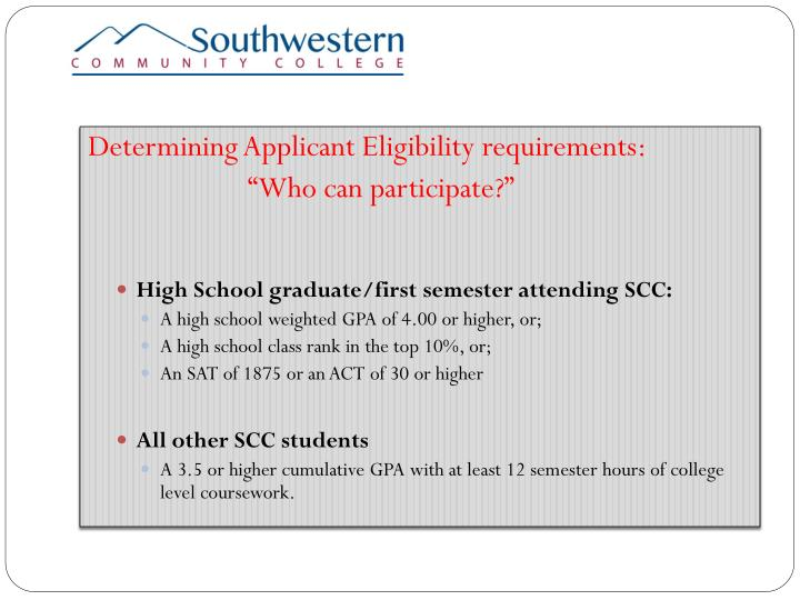 Determining Applicant Eligibility requirements