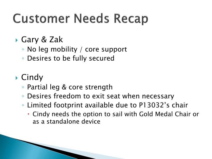Customer Needs Recap
