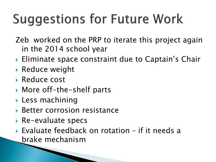 Suggestions for Future Work