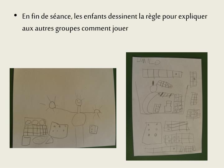 En fin de séance, les enfants dessinent la règle pour expliquer aux autres groupes comment jouer