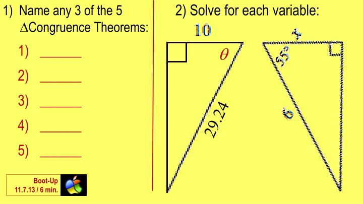 2) Solve for each variable: