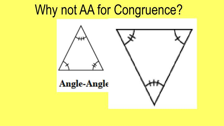 Why not AA for Congruence?