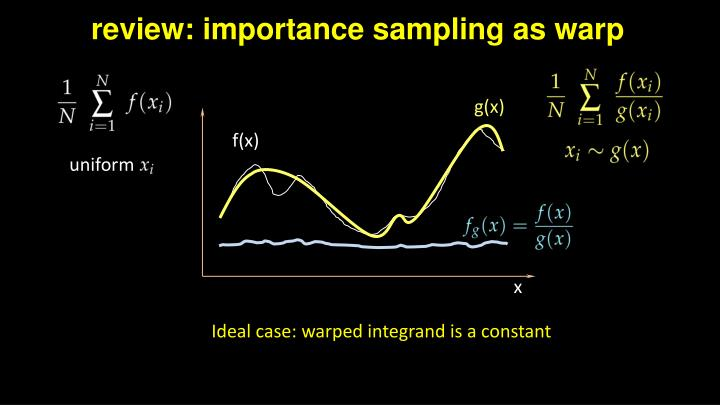 review: importance sampling as warp