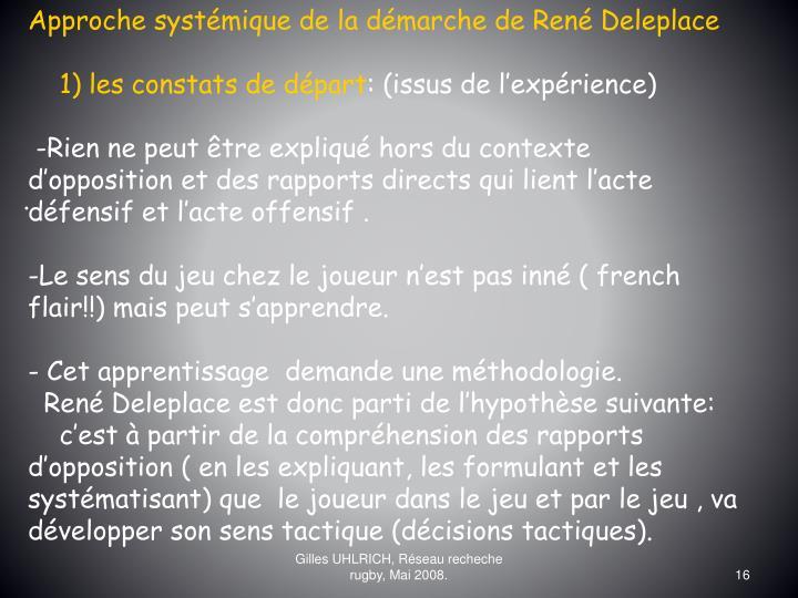 Approche systémique de la démarche de René