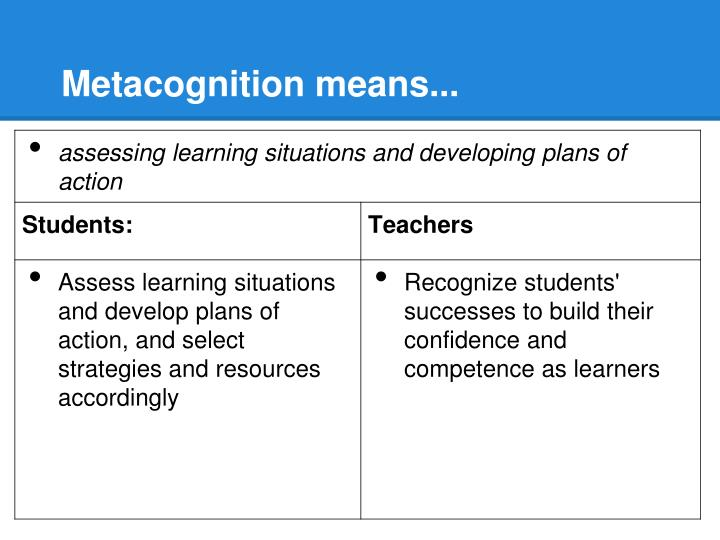 Metacognition means...