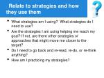 relate to strategies and how they use them