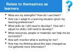 relate to themselves as learners