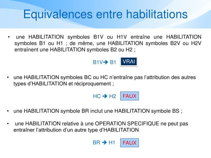 Equivalences entre habilitations