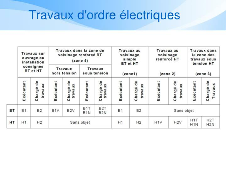 Travaux d'ordre électriques