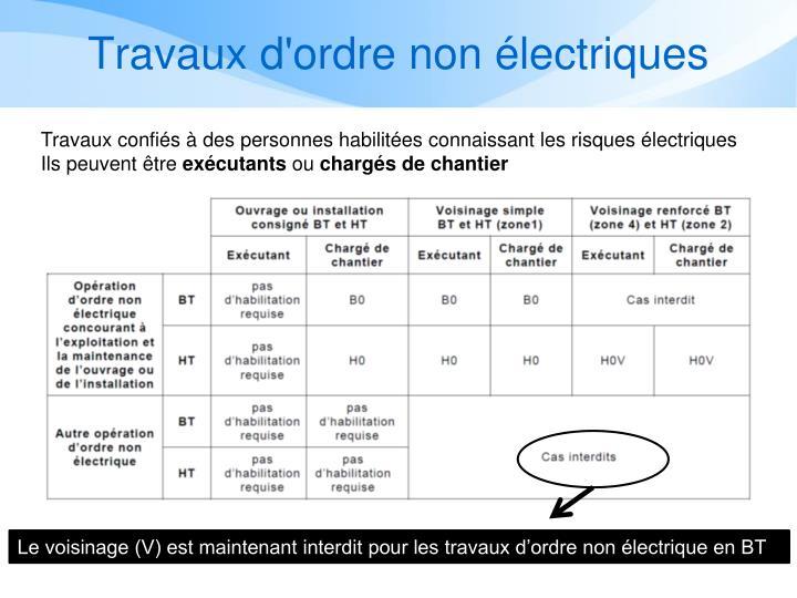 Travaux d'ordre non électriques