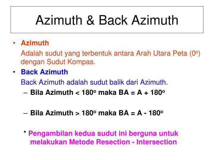 Azimuth & Back Azimuth