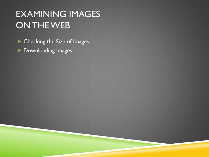 Examining Images