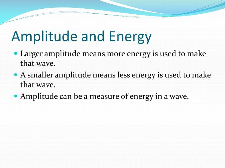Amplitude and Energy