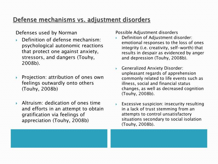 Defense mechanisms vs. adjustment disorders