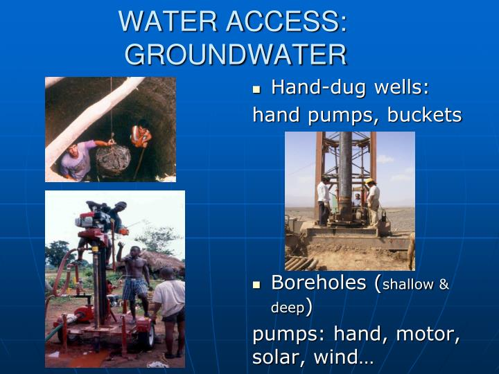 WATER ACCESS: GROUNDWATER