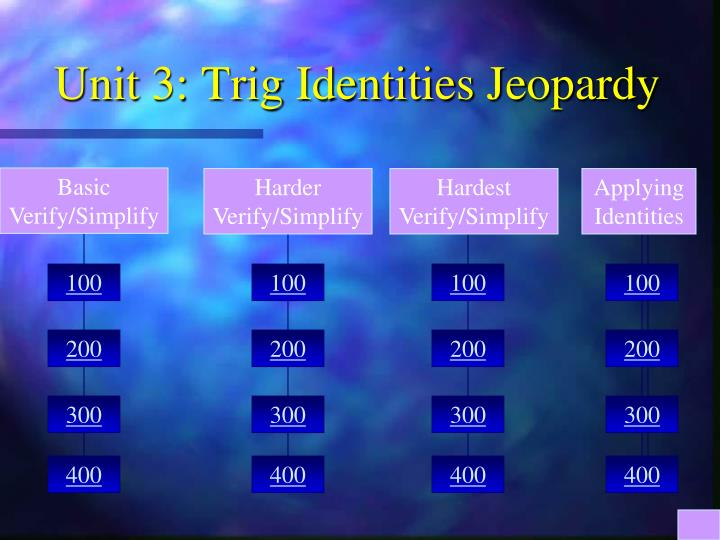 Unit 3 trig identities jeopardy