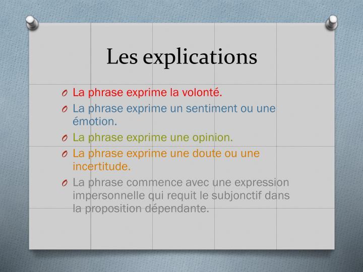 Les explications