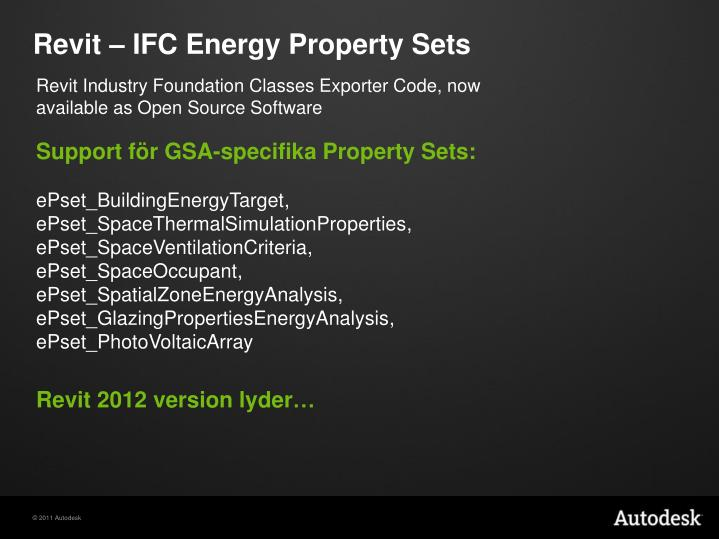 Revit – IFC Energy Property Sets