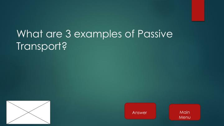 What are 3 examples of Passive Transport?