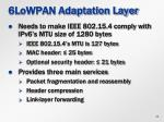6lowpan adaptation layer