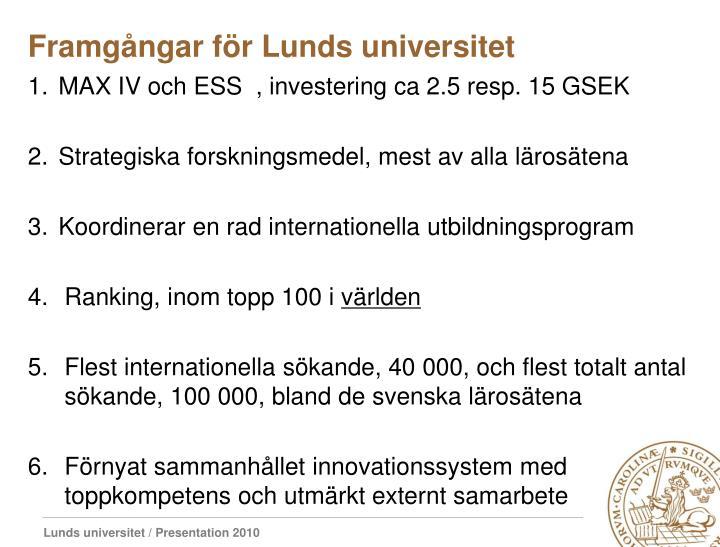 Framgångar för Lunds universitet