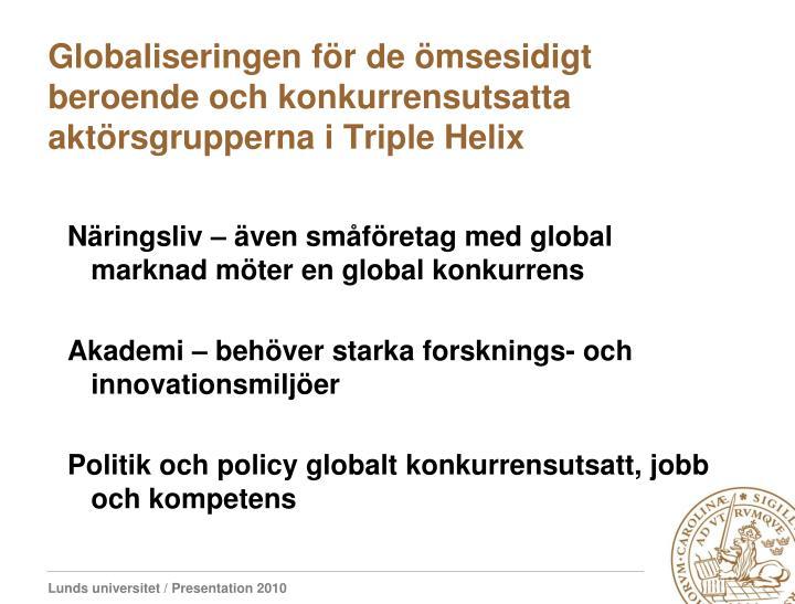 Globaliseringen för de ömsesidigt beroende och konkurrensutsatta aktörsgrupperna i Triple Helix