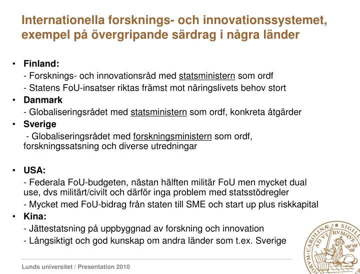 Internationella forsknings- och innovationssystemet, exempel på övergripande särdrag i några länder