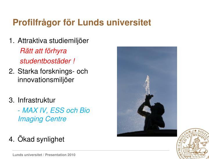 Profilfrågor för Lunds universitet