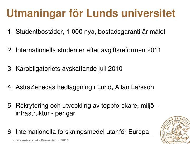Utmaningar för Lunds universitet