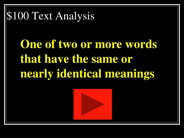 $100 Text Analysis
