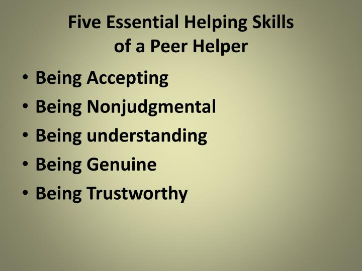 Five Essential Helping Skills