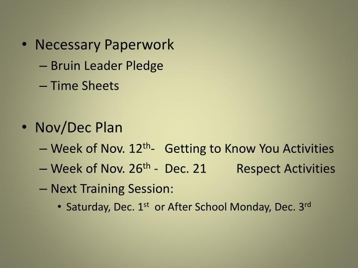 Necessary Paperwork