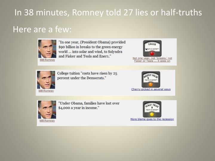 In 38 minutes, Romney told 27 lies or half-truths
