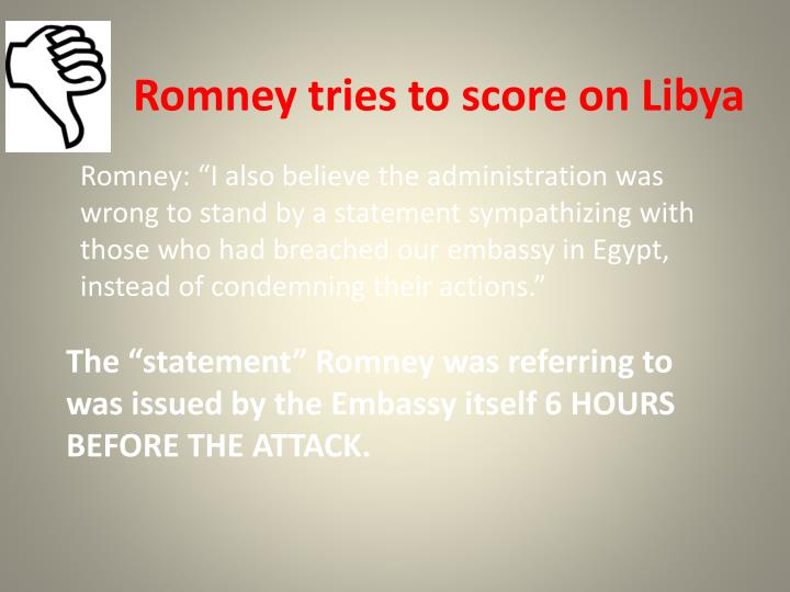 Romney tries to score on Libya