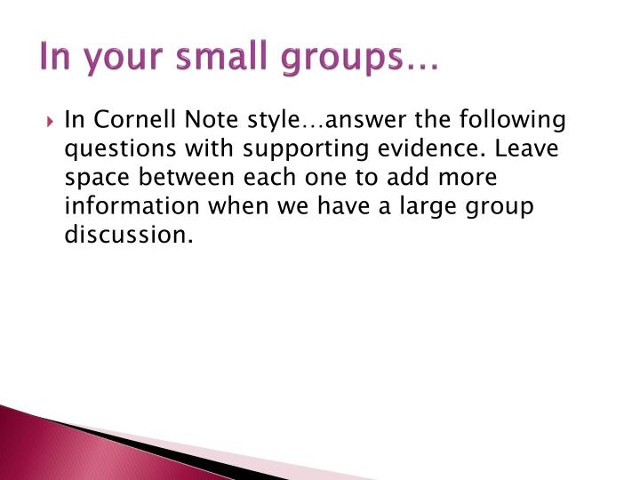 In your small groups…