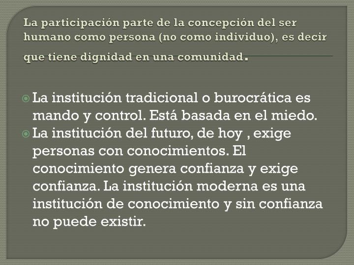 La participacin parte de la concepcin del ser humano como persona (no como individuo), es decir que tiene dignidad en una comunidad