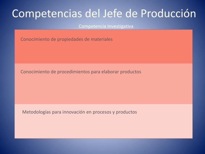 Competencias del Jefe de Producción