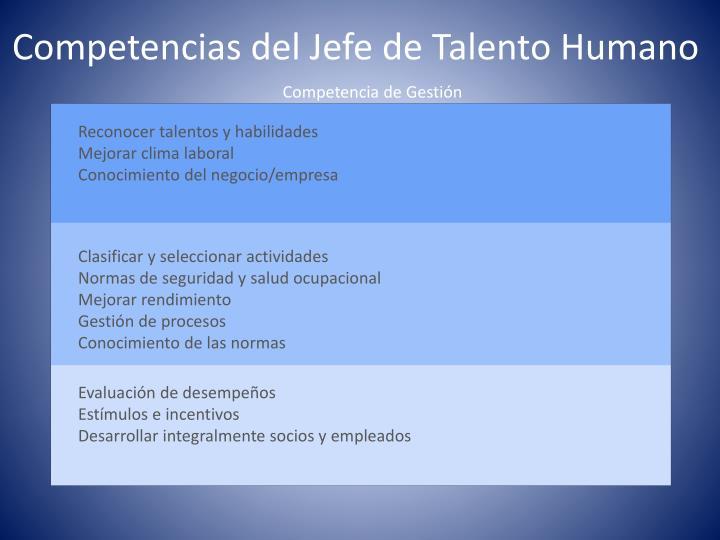 Competencias del Jefe de Talento Humano