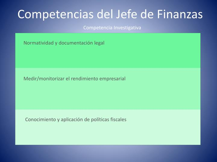 Competencias del Jefe de Finanzas