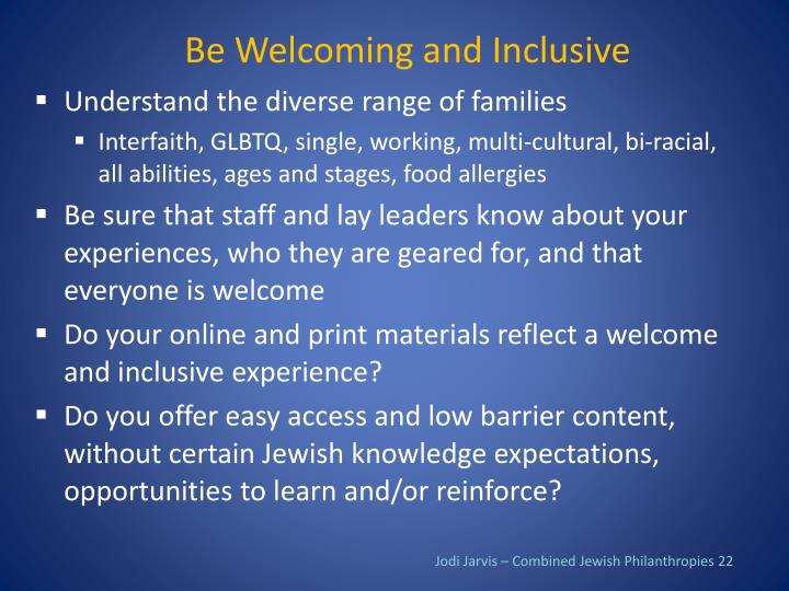 Be Welcoming and Inclusive