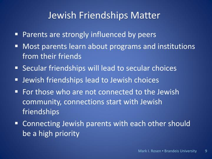 Jewish Friendships Matter