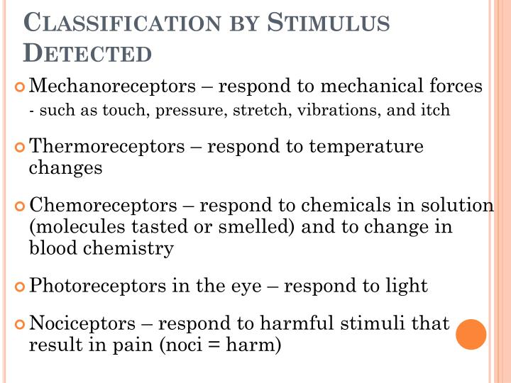 Classification by Stimulus Detected