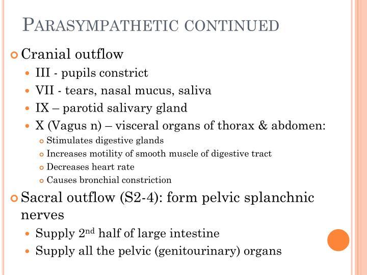 Parasympathetic continued