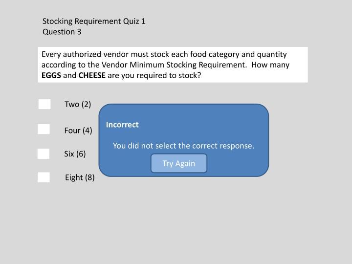 Stocking Requirement Quiz 1