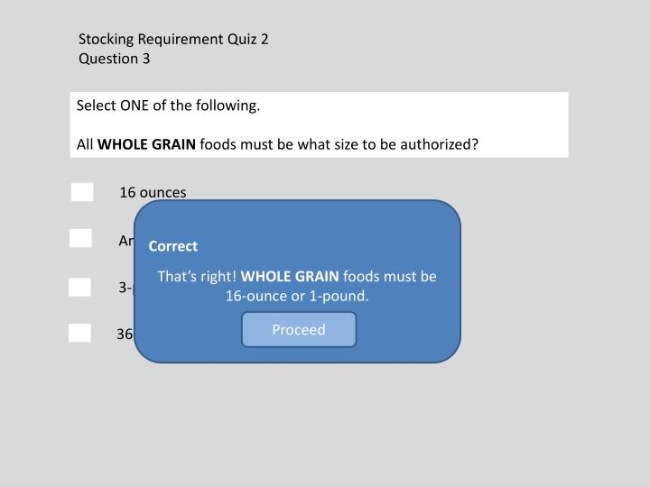 Stocking Requirement Quiz 2