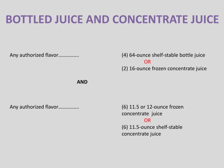 BOTTLED JUICE AND CONCENTRATE JUICE